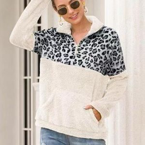 Gray White Leopard Zip Up Sherpa Pullover